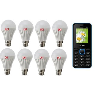 Alpha Led Combo Pack of Eight 9 Watt Bulb With Free feature Phone