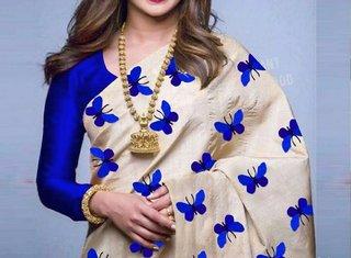 Bhuwal Fashion Blue And Cream Zarana Silk Embroidered Saree With Blouse