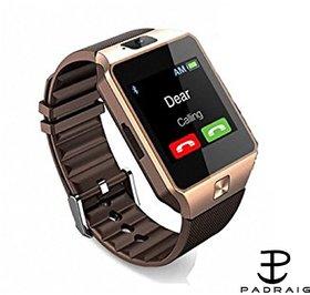 Padraig DZ09 Bluetooth Square Black Smartwatch With Camera/Sim Support/Voice Calling