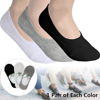 EquatorZone Men's Solid No Show Loafer Socks (Pack of 3 Pairs) -FREE SHIPPING