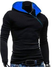 Redbrick Oblique Black  Blue Zipper Hooded Men T-Shirt
