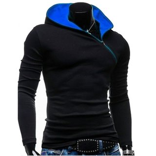 Redbrick Oblique Black  Blue Zipper Hooded Men T-Shirt