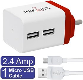 Pinnaclz Combo of Dual USB 2.4 Amp Wall Charger (White-Red) + 3 Feet Lightening Fast Sync  Charge Micro USB Data Cable