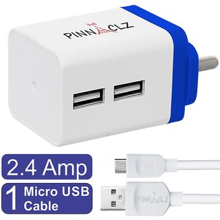 Pinnaclz Combo of Dual USB 2.4 Amp Wall Charger (White-Blue) + 3 Feet Lightening Fast Sync  Charge Micro USB Data Cable