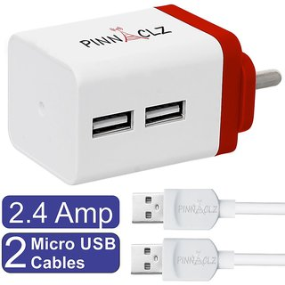 Pinnaclz Combo of Dual USB 2.4 Amp Wall Charger (White-Red) + 2 pcs 3 Feet Lightening Fast Sync  Charge Micro USB Data