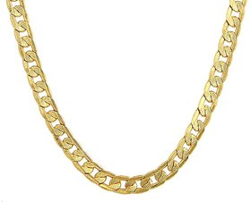 22K Gold Plated Neck Chain for men 20 Inch long , 8mm thick textured Link Chain -XC-60