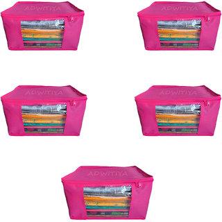 ADWITIYA Plain 10 Inch Ladies Large Non - Woven 5 Saree Cover-Keep Upto 10 - 15 Sarees each (Pink)