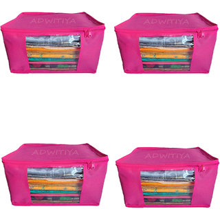 ADWITIYA Plain 10 Inch Ladies Large Non - Woven 4 Saree Cover-Keep upto 10 - 15 Sarees each (Pink)