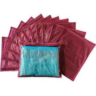 ADWITIYA Designer Single Saree Cover 12 Pcs Set (Maroon)