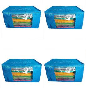 Adwitiya Plain 10 Inch Ladies Large Non Woven 4 Saree Cover - Keep Upto 10 - 15 Sarees Each (Blue)
