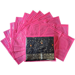 ADWITIYA Designer Single Saree Cover 12 Pcs Set (Pink)