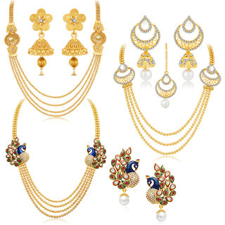Sukkhi Gold Plated Bridal/Wedding Combo of 3 Necklace Set  3 Pair of Earring  1 Mangtikka for Women