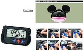 Combo of Mickey Mouse Liquid Car Perfume with Digital Dashboard Clock