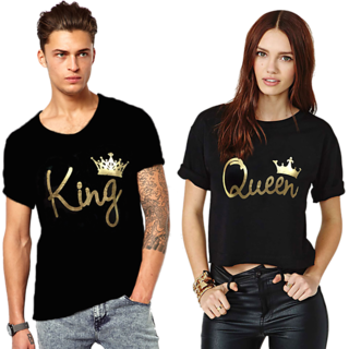 We2 King And Queen Couple Cotton Printed Tees Combo White