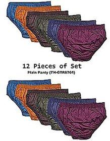 Ladies Multicolor Plain Cotton Underwear (Pack of 12 Pcs)