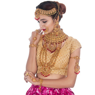 Lucky Jewellery Bridal Golden Red Color Alloy Gold Plated Wedding Jewellery Set For Girls  Women