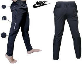 Nike Men Black Polyester Running Track Pant