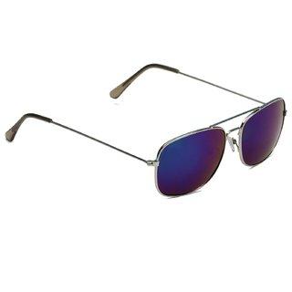 Austin (CnNikelBluMrcy) Blue Mirrored UV Protected Rectangular Sunglasses