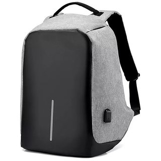 Anti Theft Laptop Backpack Bag with USB Charging Port  Anti-Theft Water Resistant Travel Backpack Suitable For Laptop Camera College Bag - Grey
