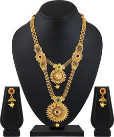 ASMITTA JEWELLERY Jalebi Design Gold Plated Gold Color Zinc Matinee Necklace Set For Women (Set Of 3 )