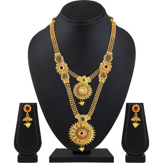 ASMITTA JEWELLERY Jalebi Design Gold Plated Gold Color Zinc Matinee Necklace Set For Women (Set Of 3 )