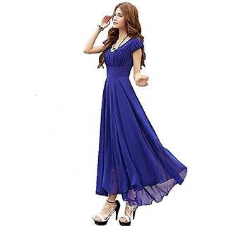 a Royal Blue Long Maxi Dress with Cape Sleeve