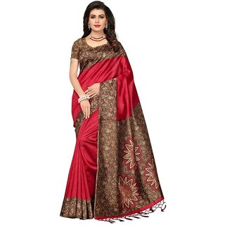 Indian Beauty Red Art Silk Printed Saree With Blouse