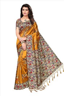 b8d5ae42b Indian Beauty Mustard Yellow Art Silk Blended Mysore Printed Saree With  Blouse