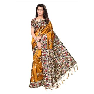 Indian Beauty Mustard  Yellow Art Silk Blended Mysore Printed Saree With Blouse