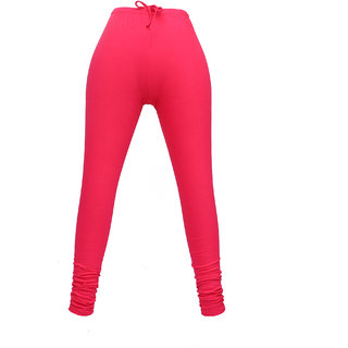 ANOMA Cotton Solid Hot Pink Leggings For Women's