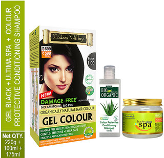 Best Hair Colour Gel Black 1.00, Ultima Hair Mask For Healthy Hair Treatment And CP Shampoo Combo Pack Of 3