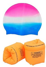 Combo of Swimming Cap & Arm Band Floaters