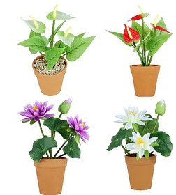 Wonderland Set of 4 Artifical Real Looking Flower Pots ( Lotus white, lotus purple, Anthurium Red, Anthurim White)