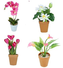 Wonderland Set of 4 Artifical Real Looking Flower Pots (Orchids, Lotus , Saffron, Calla Lilly)