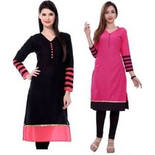 Pink and Black Color Indo Cotton semi stitched Kurti By Omstar fashion (Combo)