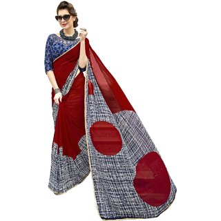 Aagaman Maroon Georgette Formal Wear Printed Saree