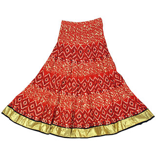 Adiboo Long Skirt cotton made blue colored printed for girls 6-11 years.
