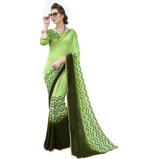 Aagaman Green Georgette Formal Wear Printed Saree