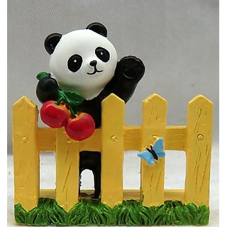 Wonderland 2.2 inches Panda on Fence New Decoration (terrarium, home , garden decor , gifting)