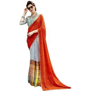 Aagaman Orange Georgette Formal Wear Printed Saree