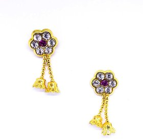 golden jhumki Ear Rings Alloy