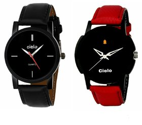 Cielo Combo Of Round Dial Red Strap Stylish Analog Wrist Watch For Men