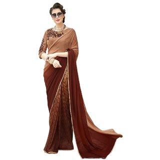 Aagaman Brown Georgette Formal Wear Printed Saree
