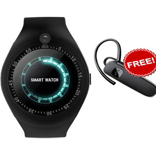 Y1 BLUETOOTH WITH SIM CARD  SD CARD SUPPORT BLACK Smartwatch + Bluetooth Handfree Combo