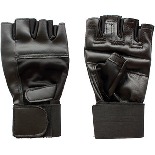 Hipkoo CLUTCH SPORT GLOVES FOR GYM, BIKES AND CYCLING (Free Size, Black)