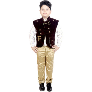 KBKIDSWEAR Velvet Cotton Pant-Shirt with Waist Coat for Boys