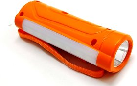 PL-006 1 Watt Front  1.4 Watt Side Light Rechargeable Torch With 1400 MAH Lithium Battery - Orange