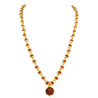 Kesar Zems Gold Plated Panch Mukhi Rudraksha Necklace