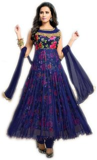 Active Women's Wonder Flower Soft Net Bhagalpuri Print Anarkali Salawar Suit