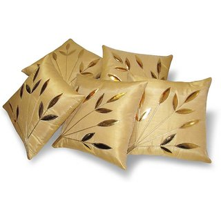 FKPL (12 inch x 12 inch) Floral Cushions Cover Beige Color (Pack of 5 Piece)